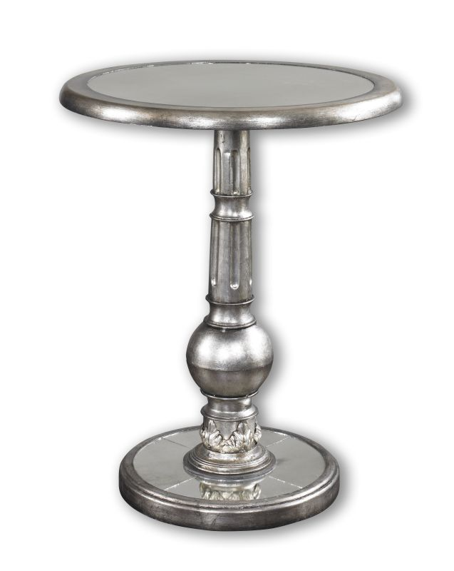Uttermost 24003 Baina Accent Table with Antiqued Mirror Accent Brushed