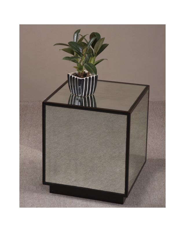 Uttermost 24091 Mirrored Cube from the Matty Collection Aged Black /