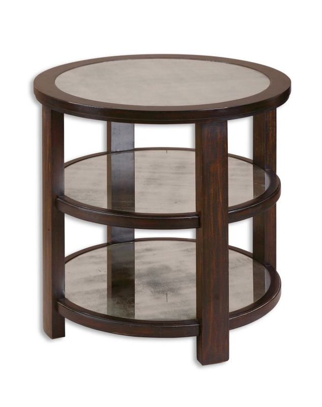 "Uttermost 24127 29"" Tall Round Pedestal Accent Table with Two Shelves"
