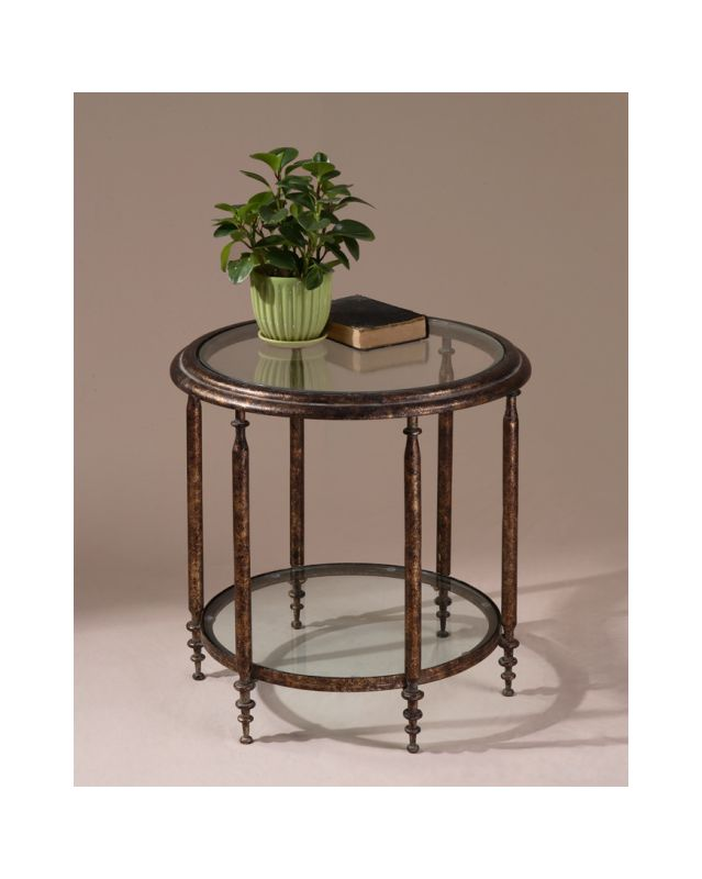 Uttermost 26011 Accent Table with Glass Top and Shelf from the Leilani