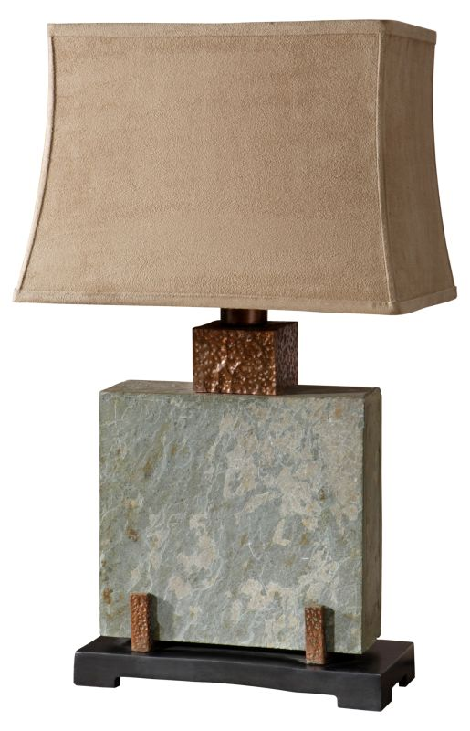 Uttermost 26321-1 Slate Square Table Lamp Hand Carved Slate With