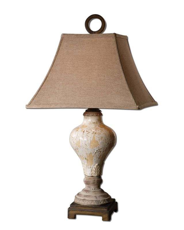 Uttermost 26785 Single Light Crackled Ivory Table Lamp from the