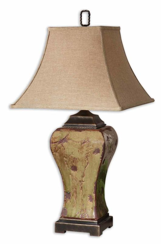 Uttermost 26882 Single Light Distressed Porcelain Square Table Lamp