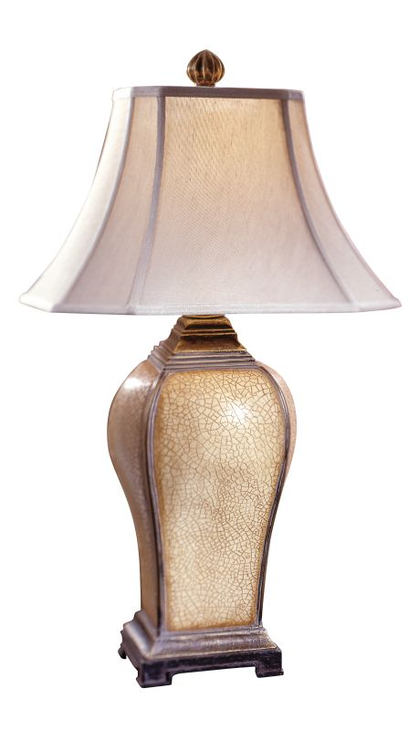 Uttermost 27093 Baron Table Lamp Ivory Crackle Brown Glaze Warm