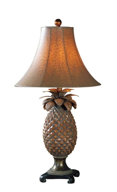 Uttermost 27137 Anana Pineapple Table Lamp Brown Glaze Bronze Accents