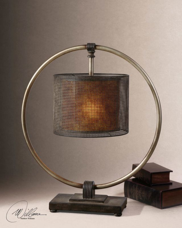 Uttermost 27649-1 Lamp with Pierced Metal and Stained Mica Shade from
