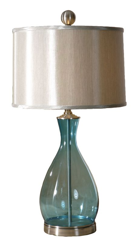 Uttermost 27862-1 Meena 1 Light Table Lamp Clear Blue Mouth Blown