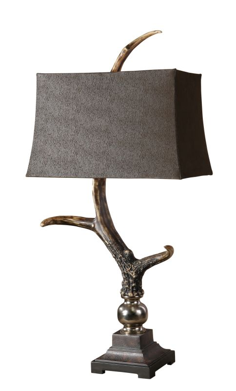 Uttermost 27960 Stag Horn Table Lamp Burnished Bone Ivory Finish With