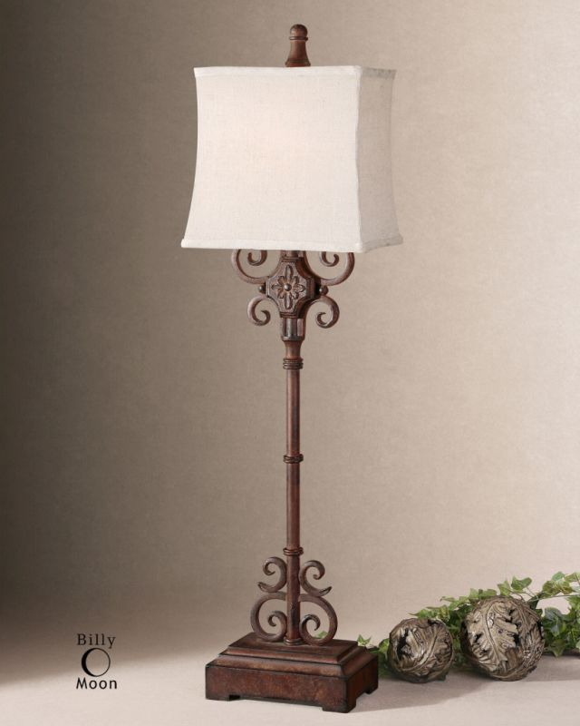 Uttermost 29533-1 Rectangle Semi Bell Shaded Lamp from the Cubero