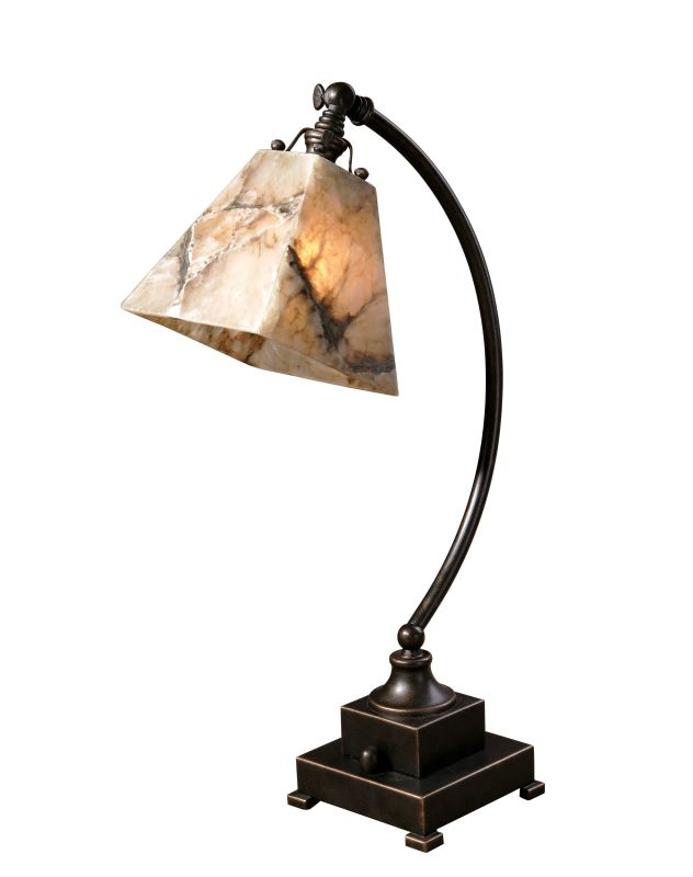 Uttermost 29838-1 Marius Task Lamp Black Brown And Ivory Marble With