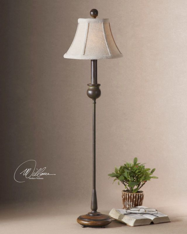 Uttermost 29882-1 Metal Buffet Lamp with Wood Base from the Susan
