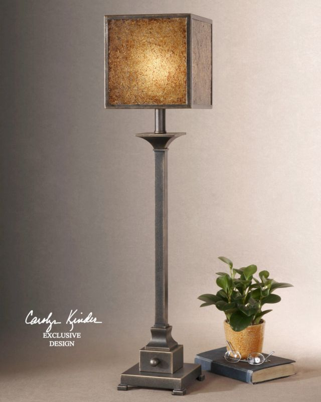 Uttermost 29883-1 Metal Buffet Lamp with Crushed Glass Shade from the