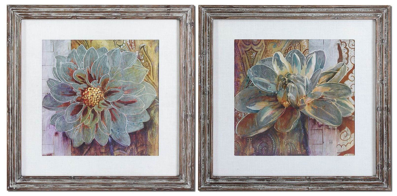Uttermost 34036 Sublime Truth Set of 2 Wall Art Medium Brown and Blues