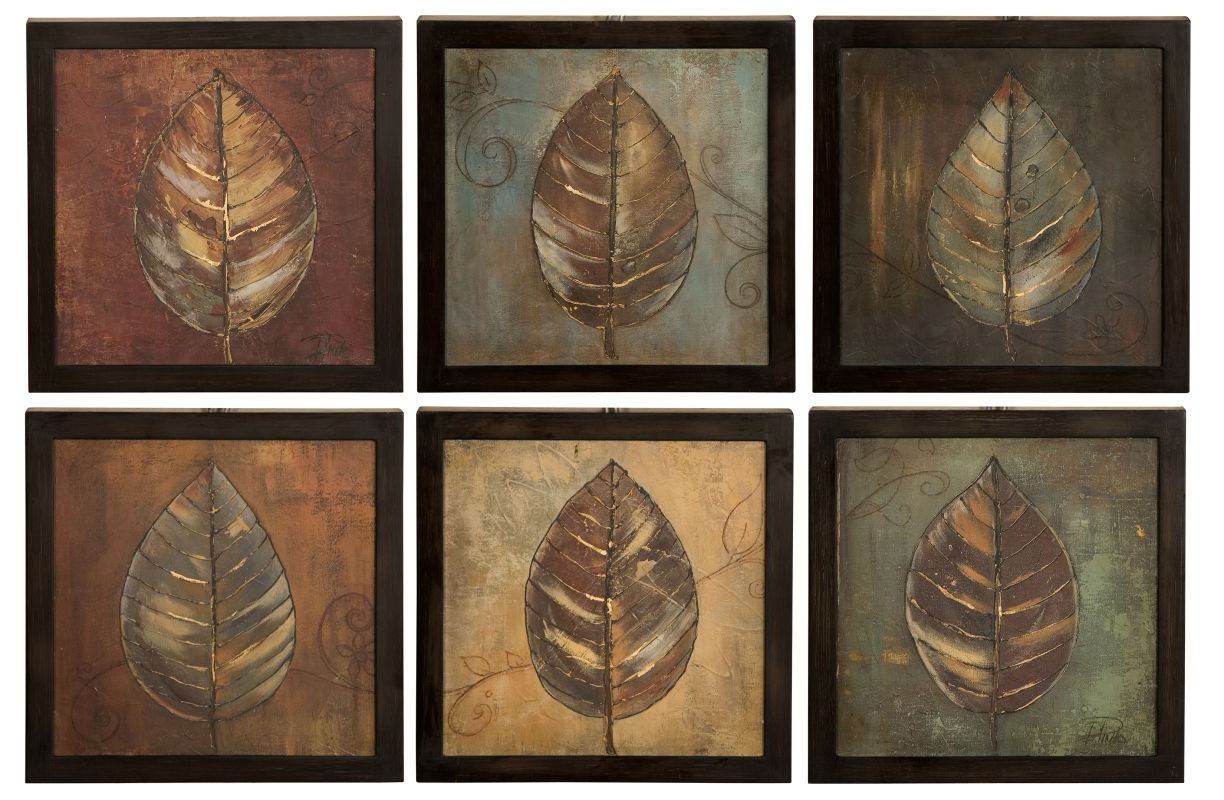 Uttermost 50890 New Leaf Panel Set of 6 Semi-Abstract Leaf Prints