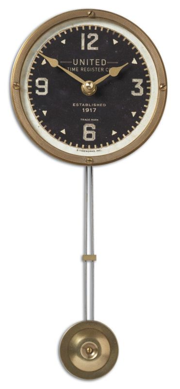"Uttermost 6014 United Time Black 5"" Clock Weathered With Brass"
