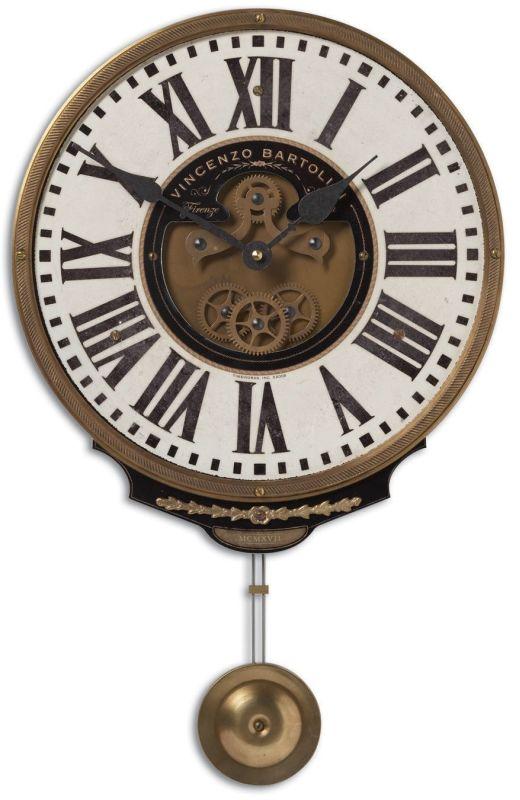 Uttermost 6021 Vincenzo Bartolini Cream Clock Weathered With Brass