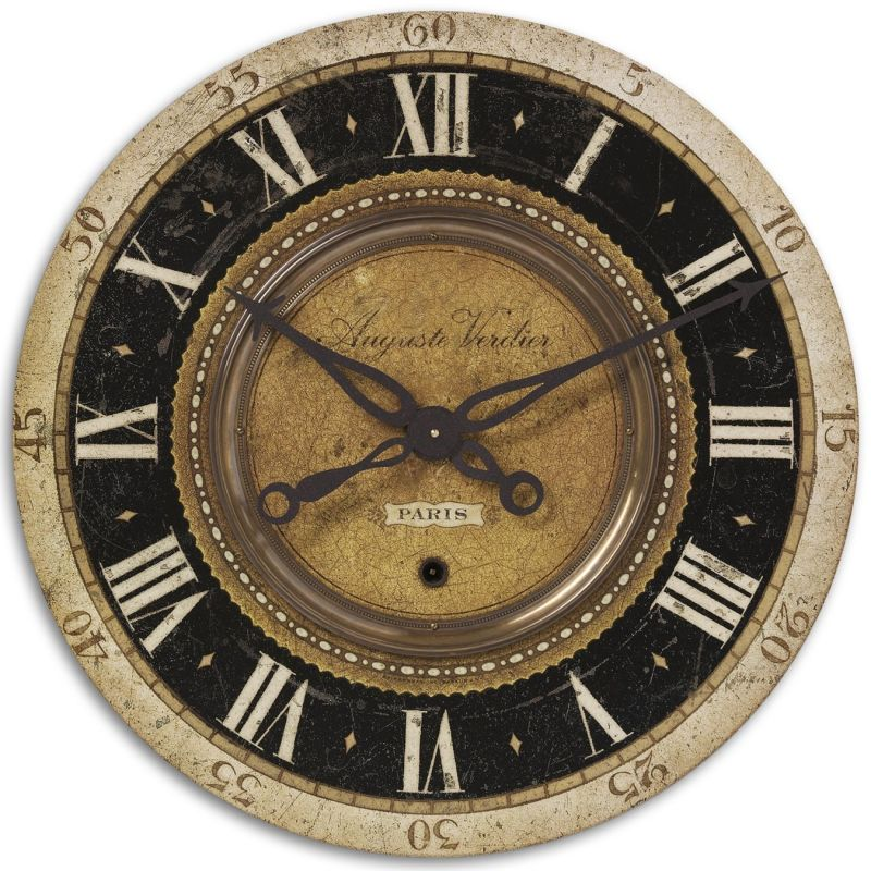 Uttermost 6028 Auguste Verdier Clock Weathered With Brass Accents