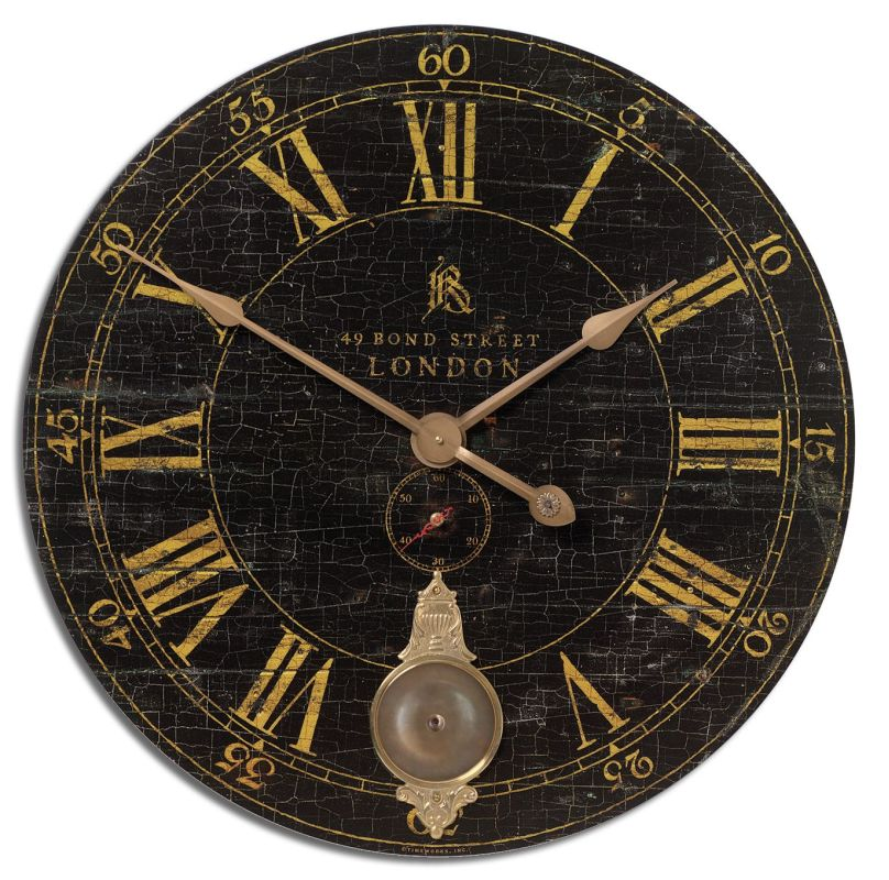 "Uttermost 6030 Bond Street 30"" Clock Weathered With Brass Accents"
