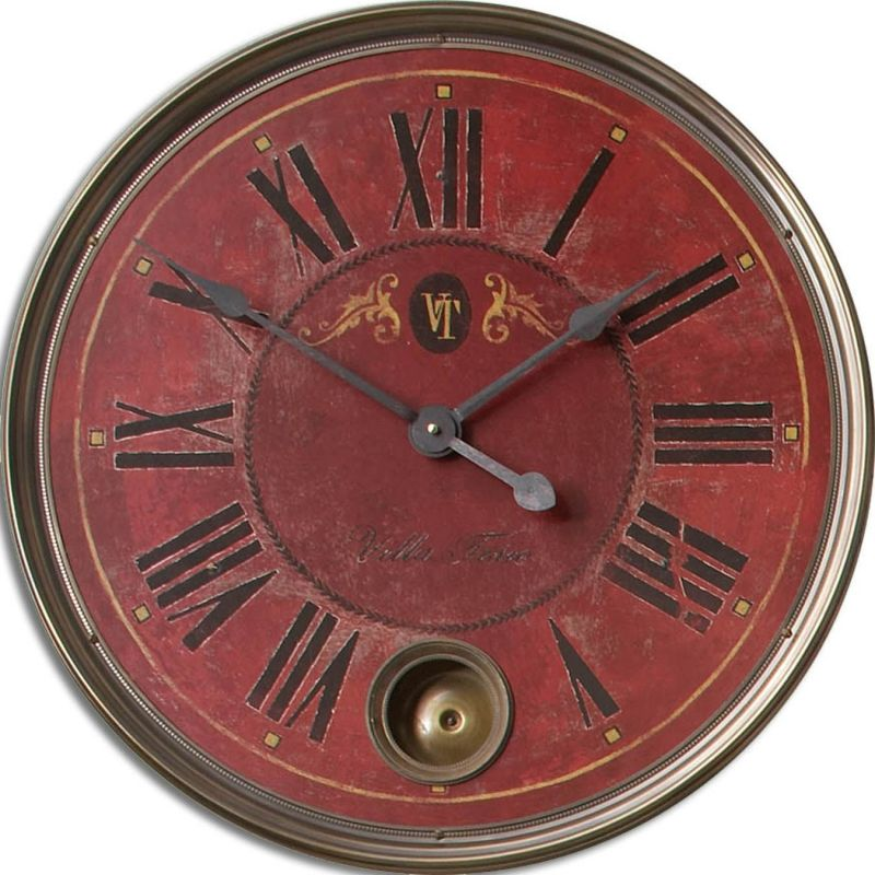 Uttermost 6037 Regency Villa Tesio Clock Weathered With Brass Accents