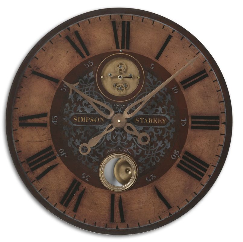 Uttermost 6038 Simpson Starkey Clock Weathered With Brass Accents