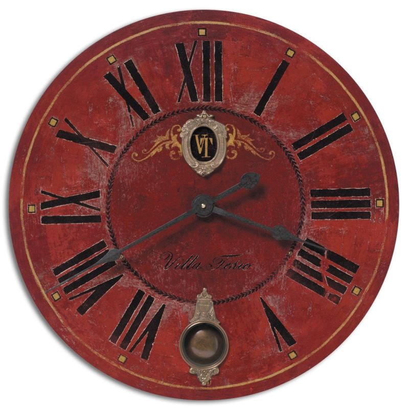 "Uttermost 6041 Villa Tesio 30"" Clock Weathered With Brass Accents"