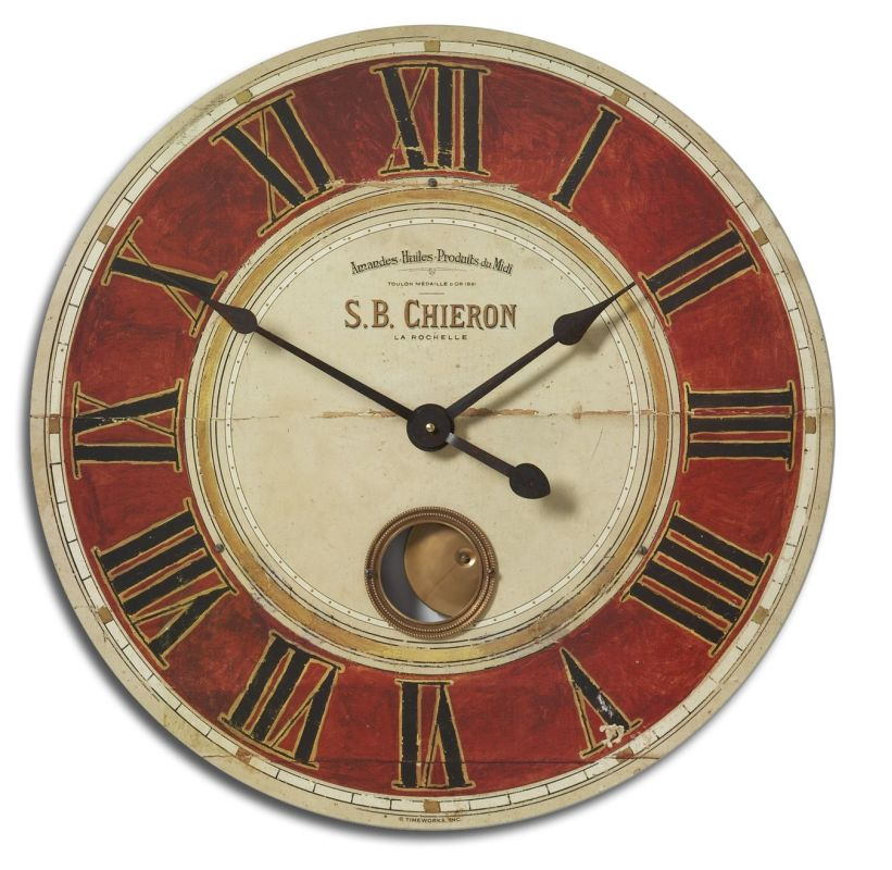 "Uttermost 6042 S.B. Chieron 23"" Clock Weathered With Red Accents Home"