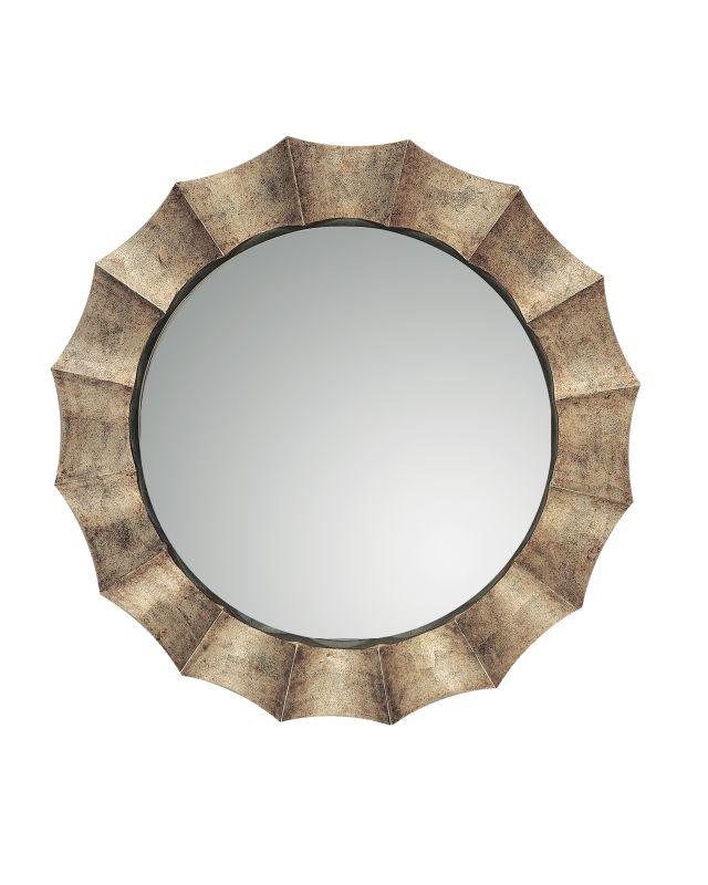 Uttermost 06048 P Gotham Round Mirror With Fluted Frame Antique Silver