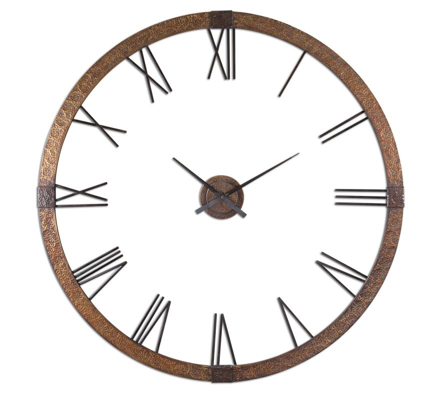Uttermost 6655 Amarion Clock Hammered Copper with Light Gray Wash Home