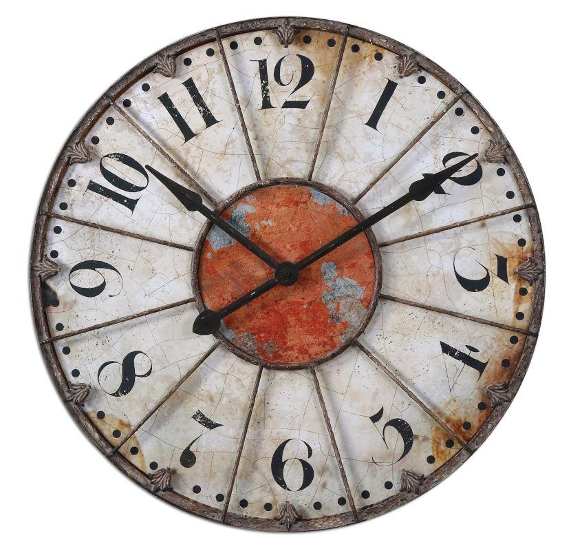 Uttermost 6664 Ellsworth Clock Rust Red Home Decor Wall Clocks