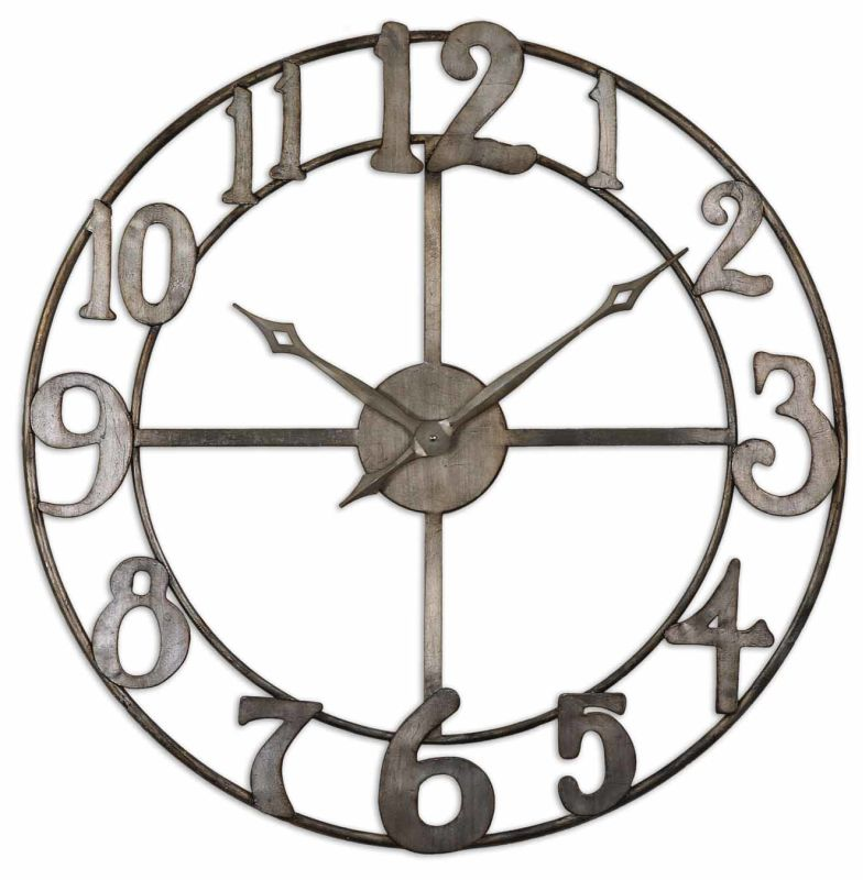 Uttermost 6681 Delevan Clock Antique Silver Leaf Home Decor Wall
