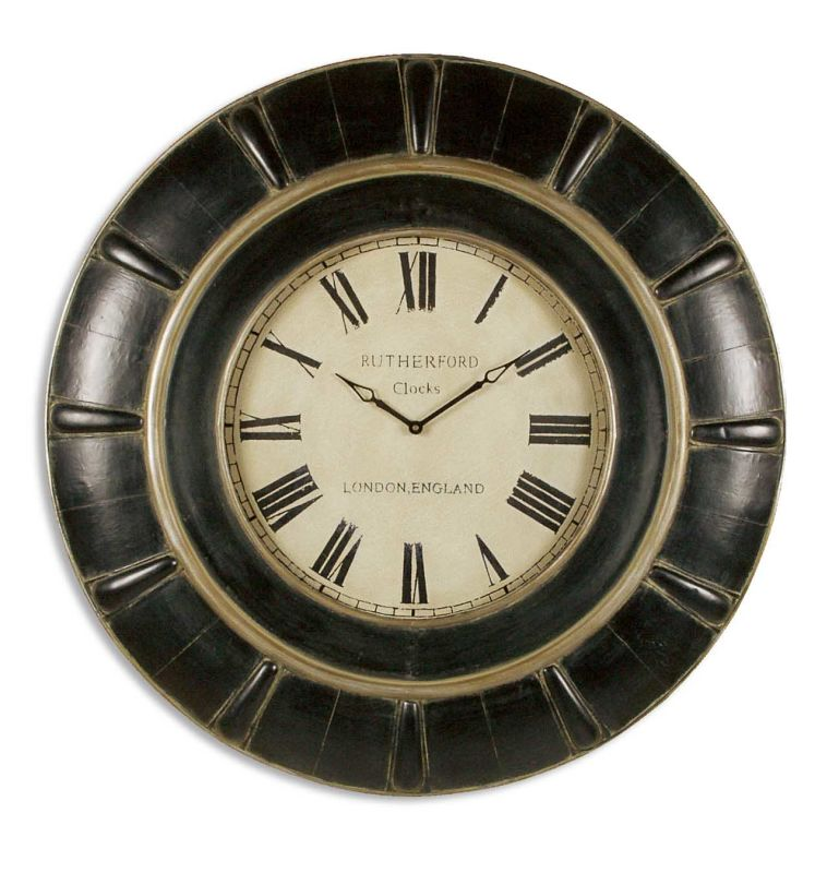 Uttermost 6709 Rudy Lightly Distressed Wall Clock Rustic Black With