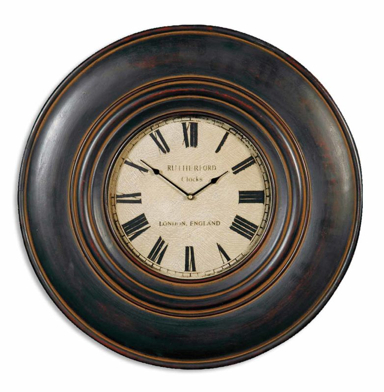 Uttermost 6724 Adonis Wood Frame Wall Clock Distressed Black Home