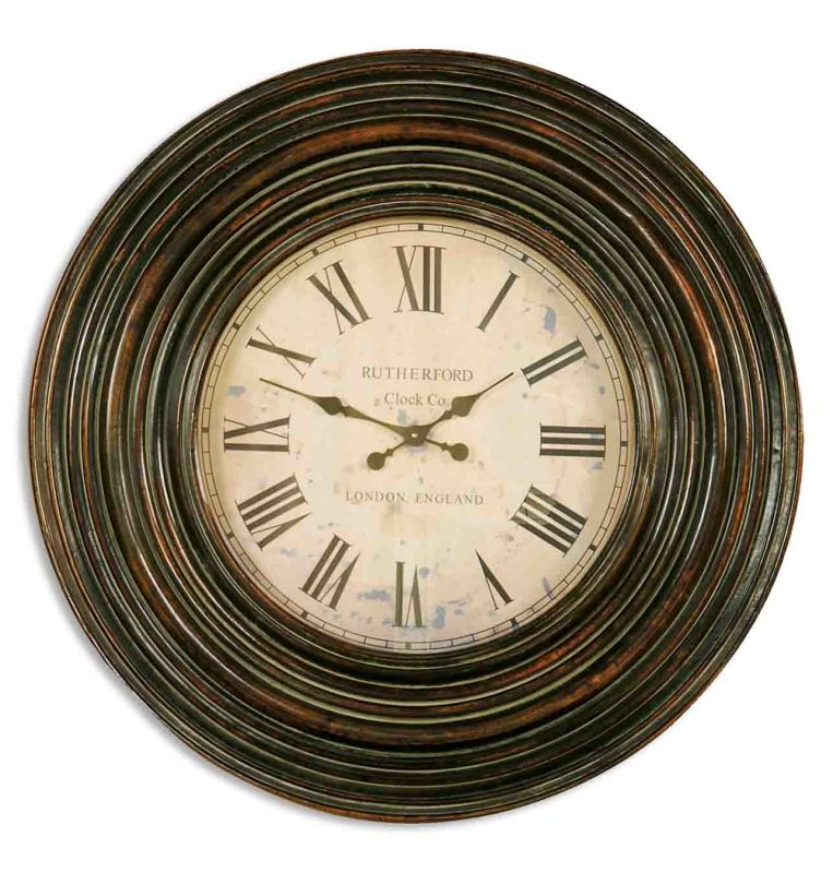 Uttermost 6726 Trudy Wood Frame Wall Clock Distressed Burnished Brown