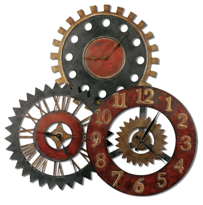 Uttermost 6762 Rusty Movements Hand Forged Metal Wall Clock Rustic