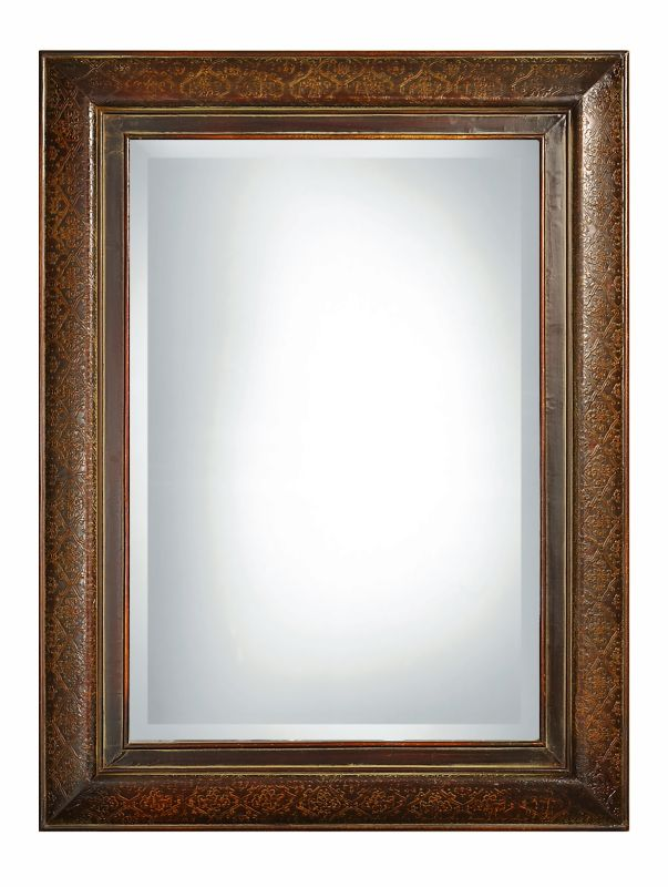 Uttermost 07026 B Rowena Beveled Mirror Embossed Copper In Mahogany