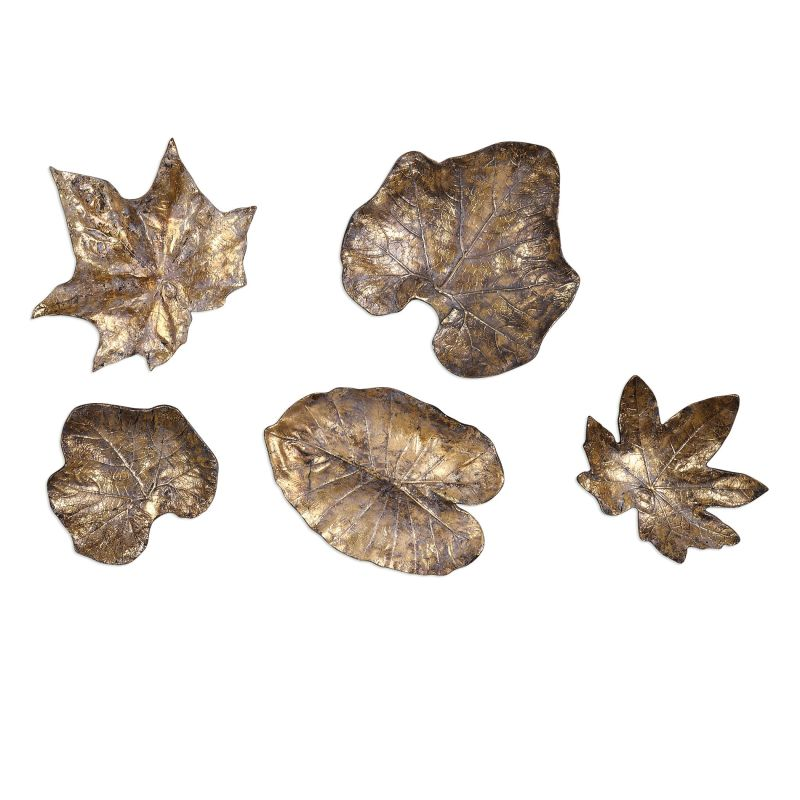Uttermost 04063 Five Piece Wall Decor Set from the Bronze Leaves