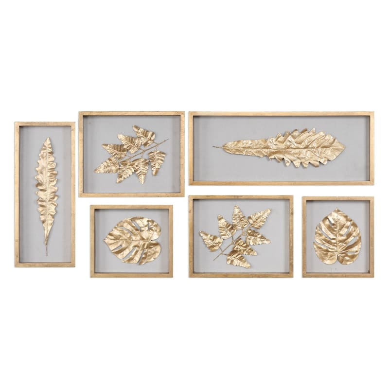 Uttermost 04074 Six Piece Leaf Wall Decor Set from the Golden Leaves