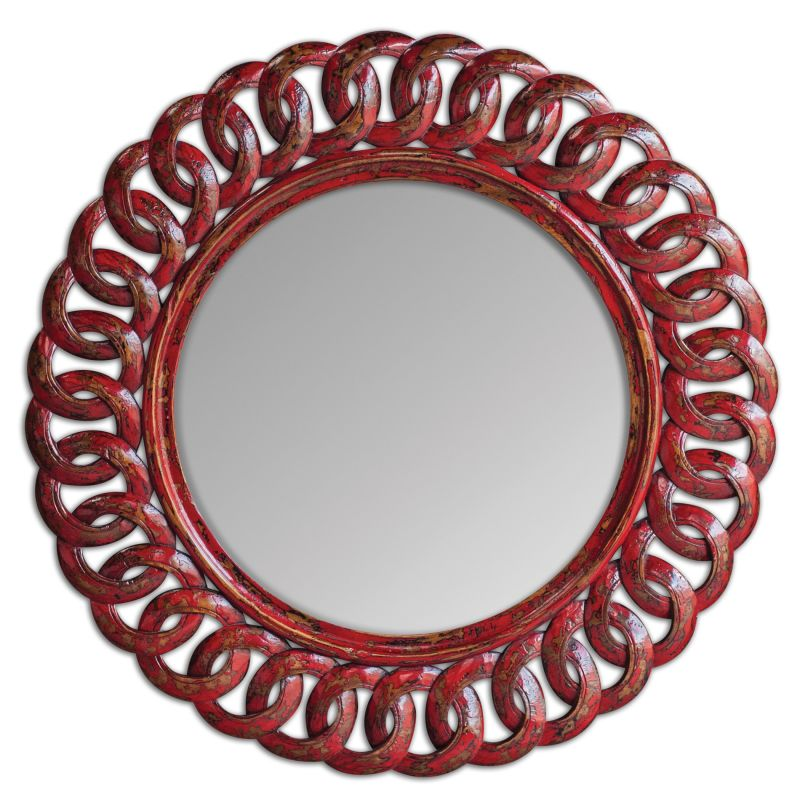 Uttermost 05029 Sassia Linked Loop Rounded Mirror Distressed Aged Red