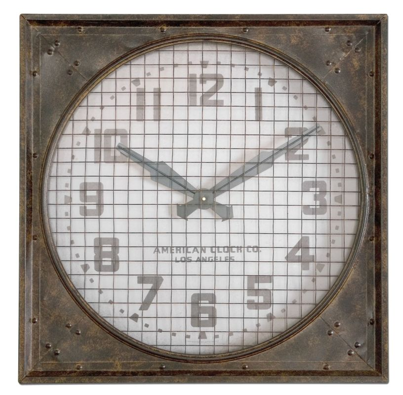 Uttermost 06083 Warehouse Wall Clock w/ Grill Mottled Rust Brown Home