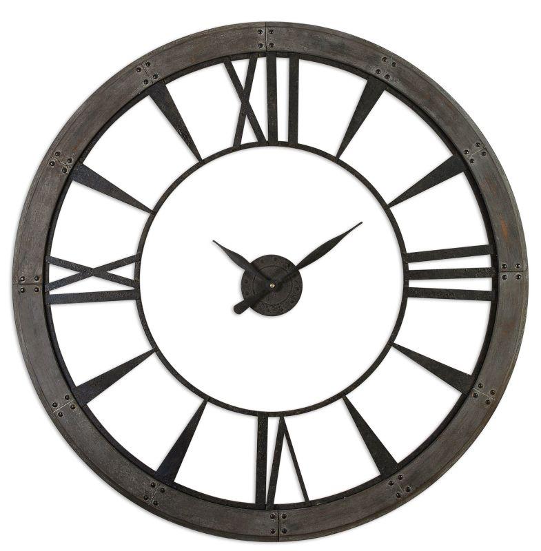 Uttermost 06084 Ronan Large Rustic Wall Clock Dark Rustic Bronze Home