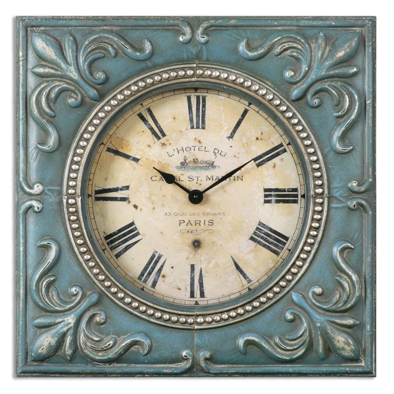Uttermost 06422 Canal St. Martin Square Analog Wall Clock with Roman