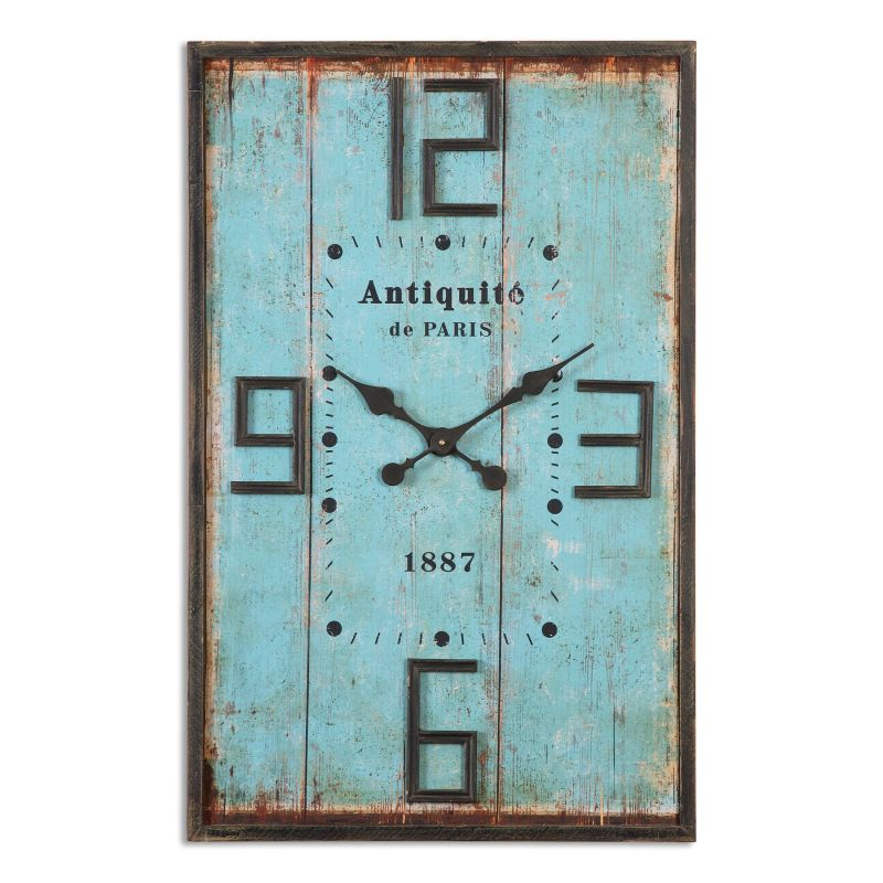 Uttermost 06425 Antiquite Rectangular Analog Wall Clock with Standard