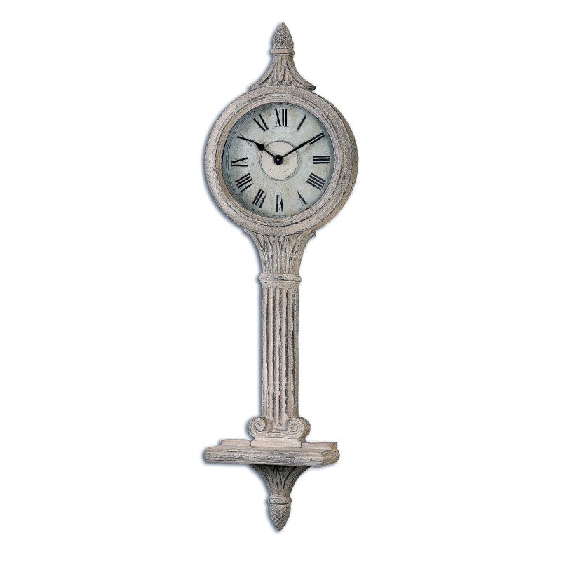 """Uttermost 06427 Louisa 49"""" Diameter Wall Clock Antiqued Ivory Home"""