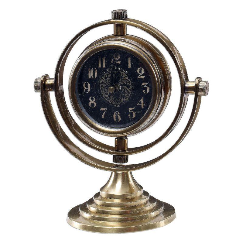 """Uttermost 06430 Almonzo 8"""" Diameter Brass Desk Clock Brass Home Decor"""