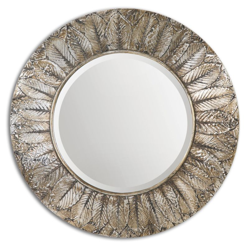 Uttermost 07065 Foliage Impression Rounded Mirror Lightly Antiqued