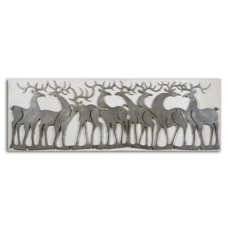 Uttermost 07682 Herd Of Deer Metal Wall Decor Lightly Antiqued Silver