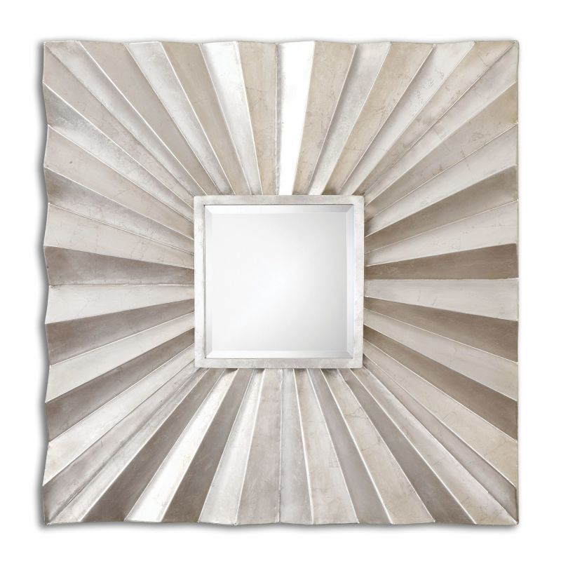 Uttermost 07684 Adelmar Metal Square Mirror Lightly Antiqued Silver