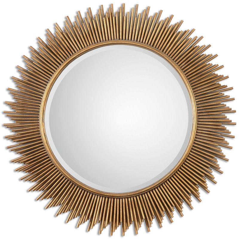 "Uttermost 08137 Marlo 36"" Wall Mirror Antiqued Gold Leaf Home Decor"
