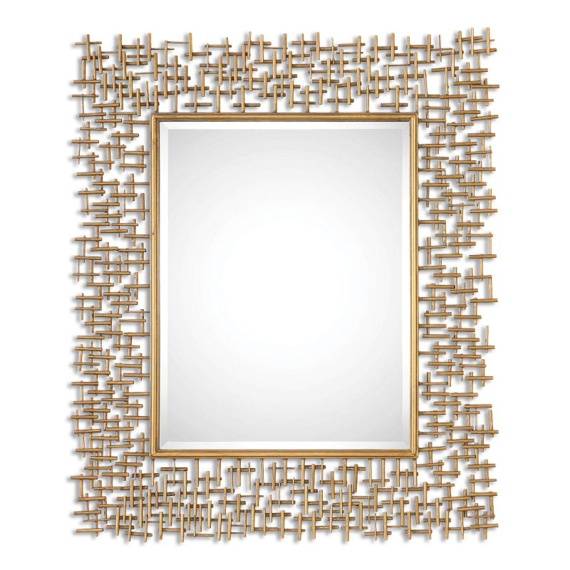 """Uttermost 08139 Nevena 42"""" x 36"""" Wall Mirror Heavily Antiqued Gold"""