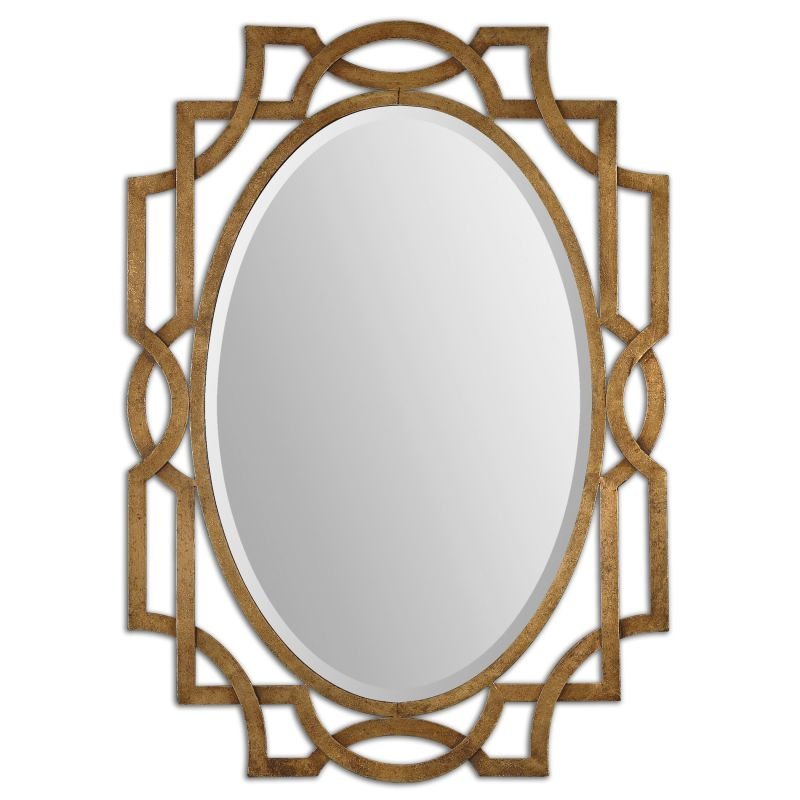 Uttermost 12869 Margutta Oval Mirror Antiqued Gold Leaf Home Decor
